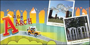 A page is shown from the new children's book called 'The ABC's of Public Art,' which tells the story of public art in Toledo.