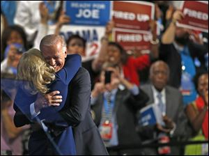 Vice President Joe Biden hugs his wife Jill after his speech to the Democratic National Convention.