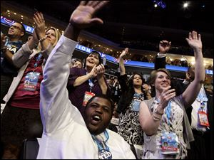 Ohio delegates cheer during the Democratic National Convention in Charlotte, N.C.