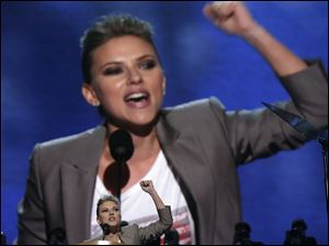 Actress Scarlett Johansson addresses the Democratic National Convention.