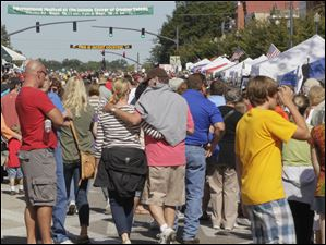 A festival brings out a crowd in downtown Perrysburg.