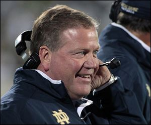 Head coach Brian Kelly has Notre Dame off to its best start since 2002, when the Fighting Irish won their first eight games.