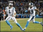 Carolina's Ted Ginn, a former Ohio State player, runs for a touchdown as teammate Cam Newton runs with him during the NFC Championship Game. Ginn is one of five Buckeyes who will play in the Super Bowl.