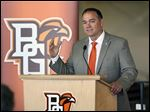 Bob Moosbrugger is introduced Tuesday as Bowling Green State University athletic director Tuesday at the Stroh Center. The Celina, Ohio, native played baseball for the Falcons in the early 1990s.